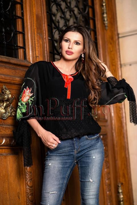 Bluza dama eleganta neagra cu broderie florala