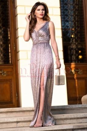Rochie de seara lunga din jerse multicolor