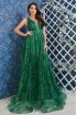 Rochie de lux lunga Atmosphere verde smarald cu fir lame