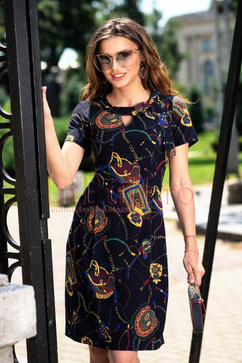 Rochie eleganta de zi bleumarin cu imprimeu floral si fundita la gat