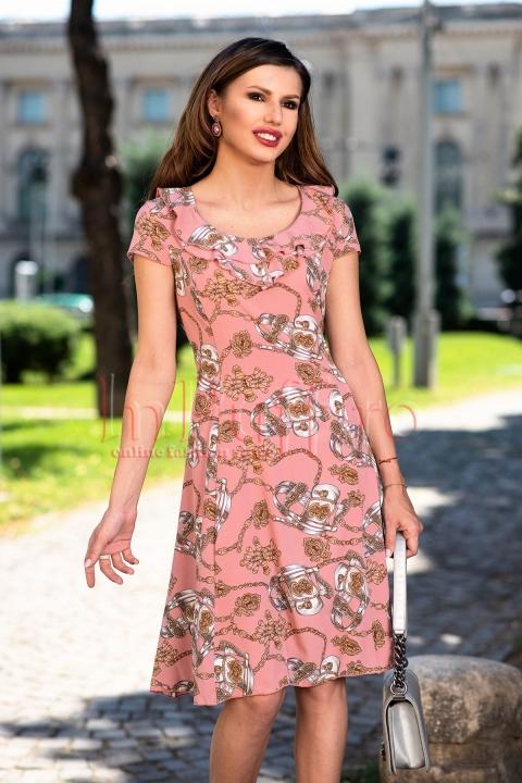 Rochie eleganta roz prafuit din satin cu imprimeu deosebit