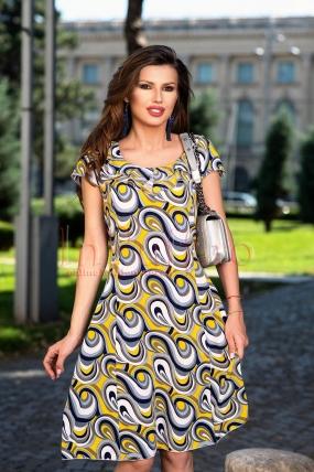 Rochie midi eleganta cu imprimeu geometric si volane