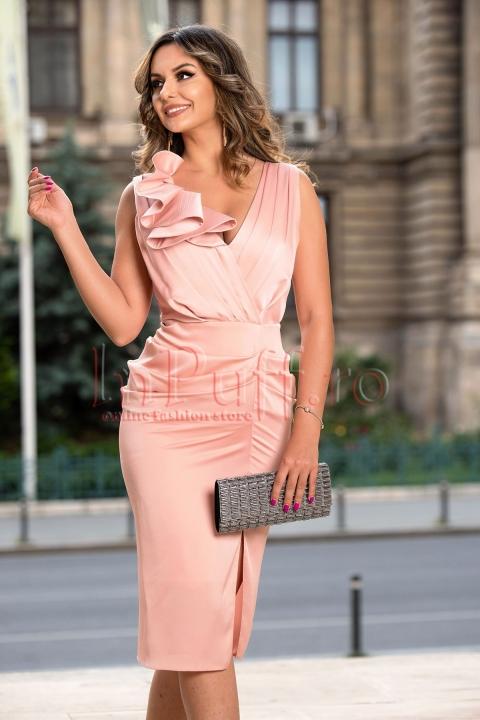 Rochie de ocazie rose cu pliuri si volane