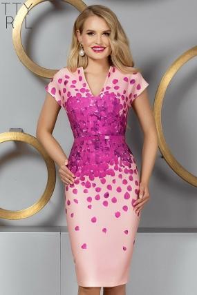 Rochie eleganta de seara rose cu imprimeu deosebit si decolteu in V