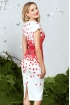 Rochie de seara midi alba cu imprimeu deosebit si curea in talie