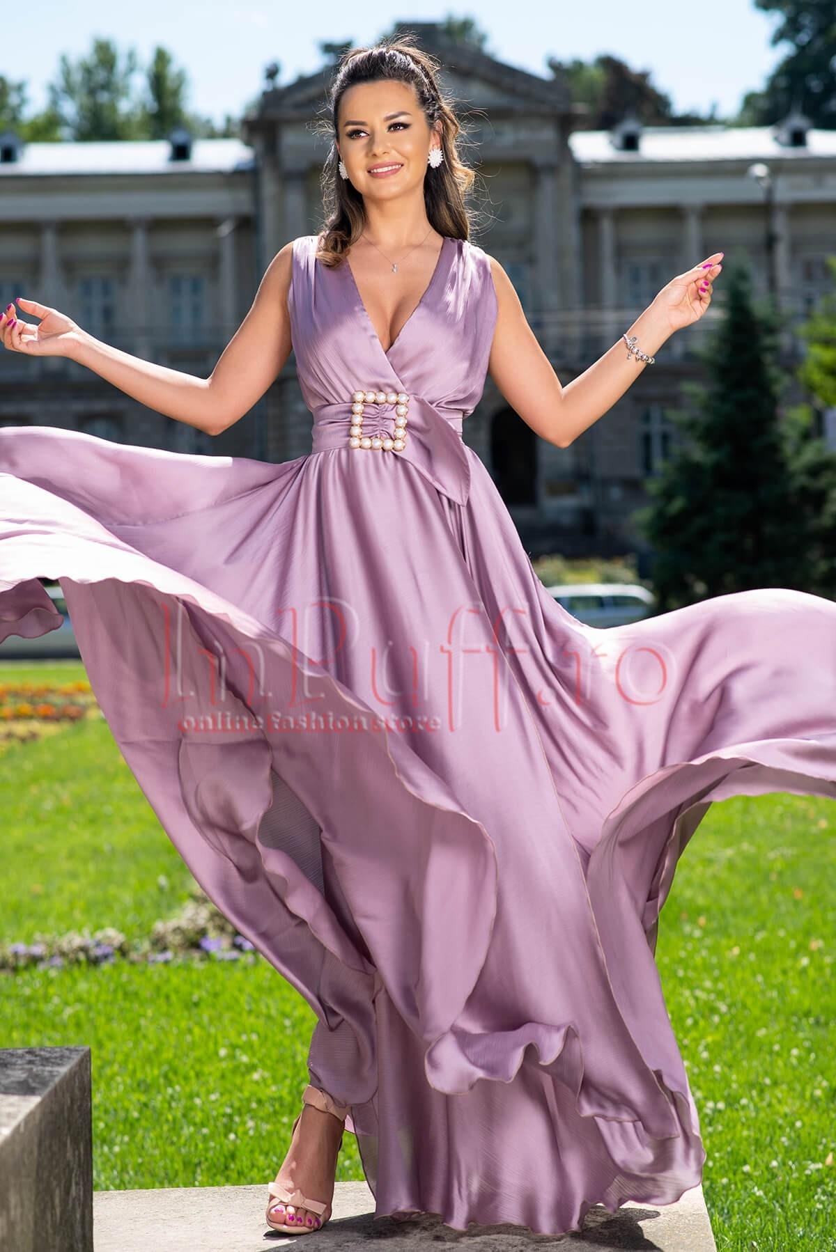 Rochie de seara lunga lila prafuit din voal satinat cu decolteu petrecut Pretty-Girl