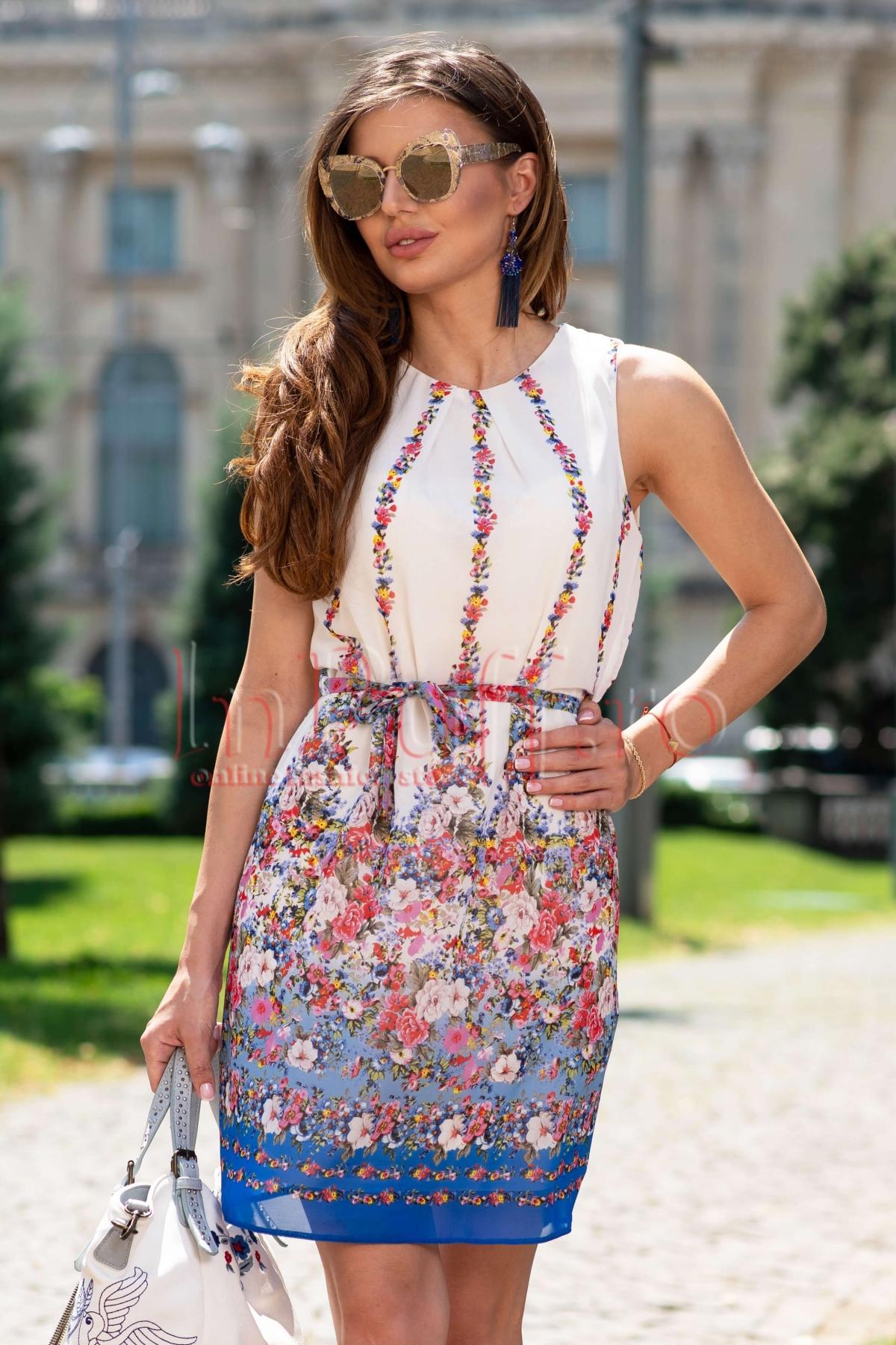 Rochie de vara din voal cu imprimeu floral
