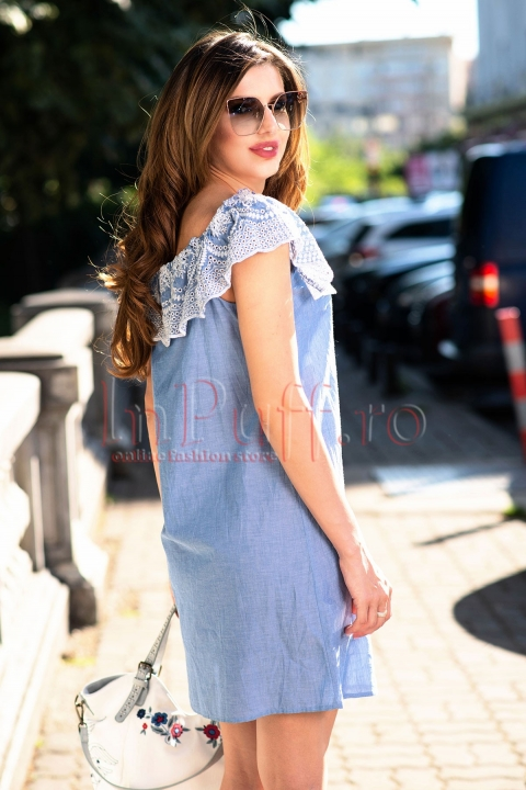 Rochie eleganta de zi tip denim cu maneci usor cazute