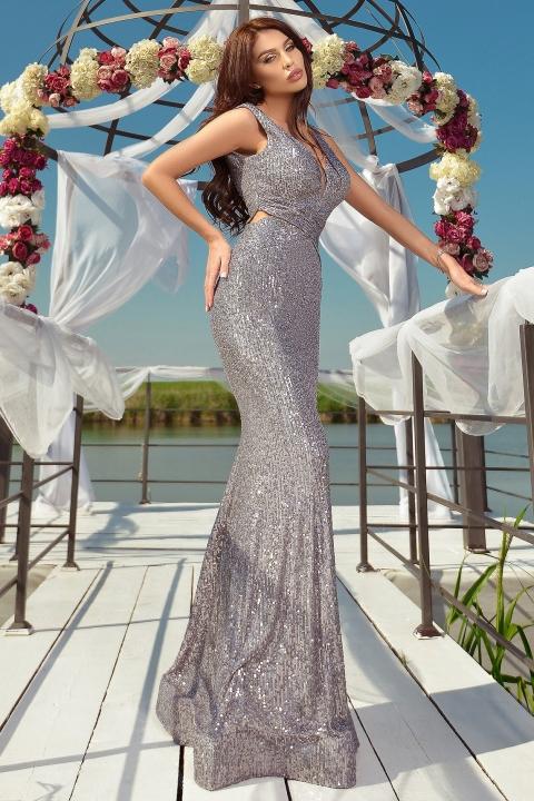 Rochie de lux lunga Atmosphere din paiete argintii