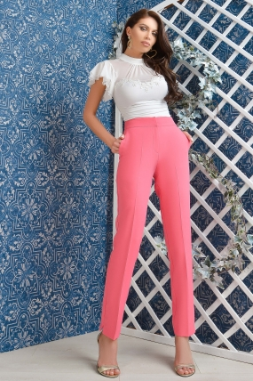 Pantaloni dama Atmosphere office roz cu talie inalta