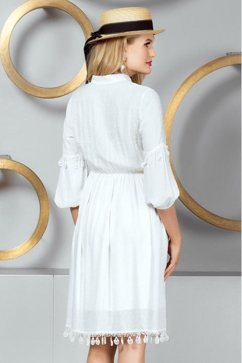 Rochie eleganta de zi cu maneci usor bufante si pliuri in talie