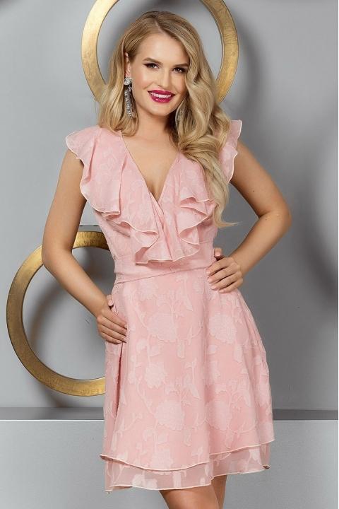 Rochie eleganta din voal rose cu volanase in zona bustului