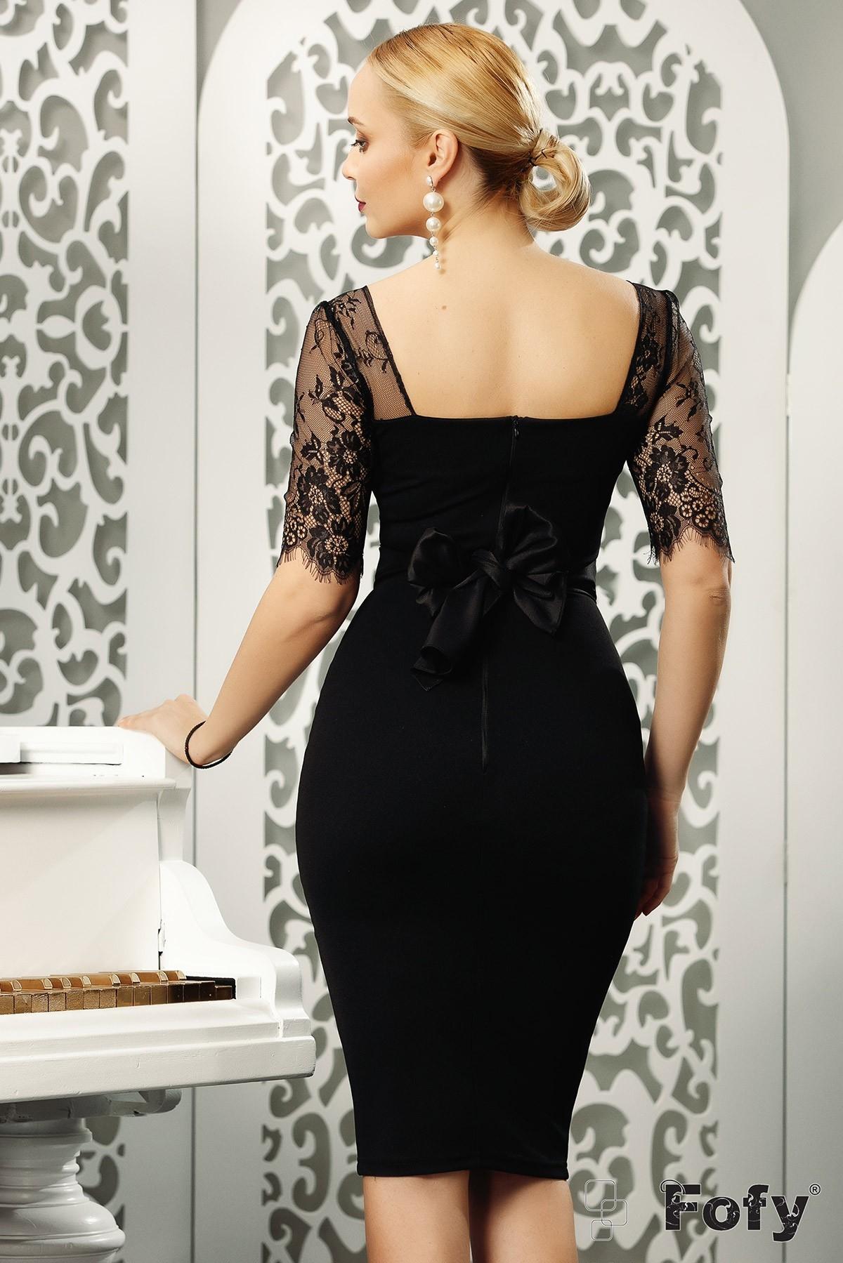 Rochie de seara Fofy neagra din bistrech cu maneci din dantela