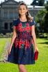 Rochie eleganta cu imprimeu floral si panglica tip funda in talie