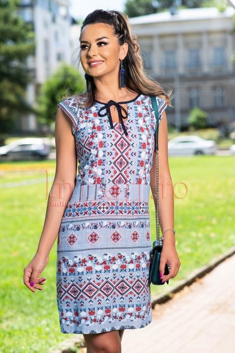 Rochie de vara din vascoza cu imprimeu traditional