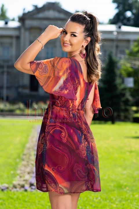 Rochie eleganta Moze din voal cu imprimeu deosebit