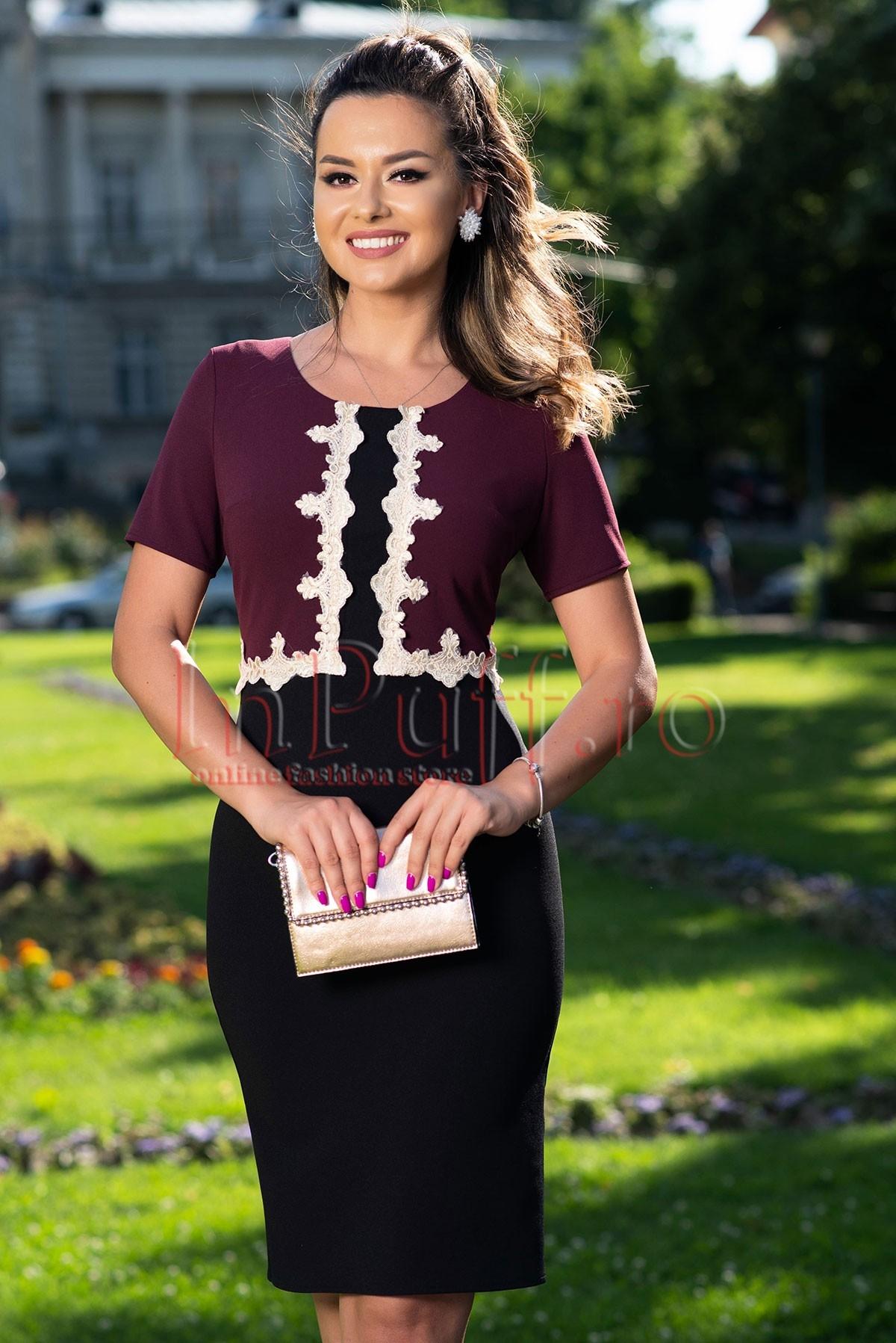 Rochie eleganta de seara in 2 culori cu insertii brodate
