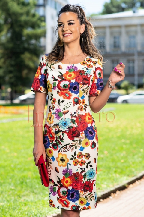 Rochie eleganta ivoire cu imprimeu floral