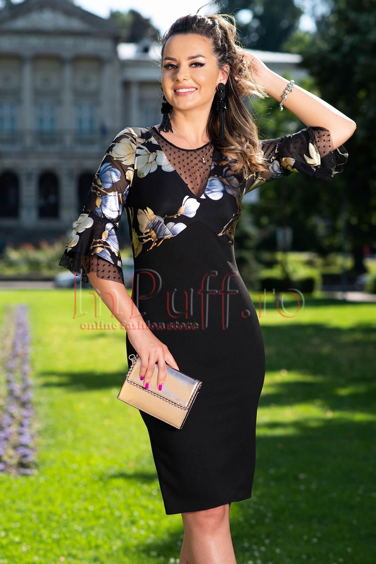 Rochie de seara eleganta din tul cu imprimeu floral stralucitor