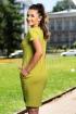 Rochie lejera din vascoza verde cu model cusut