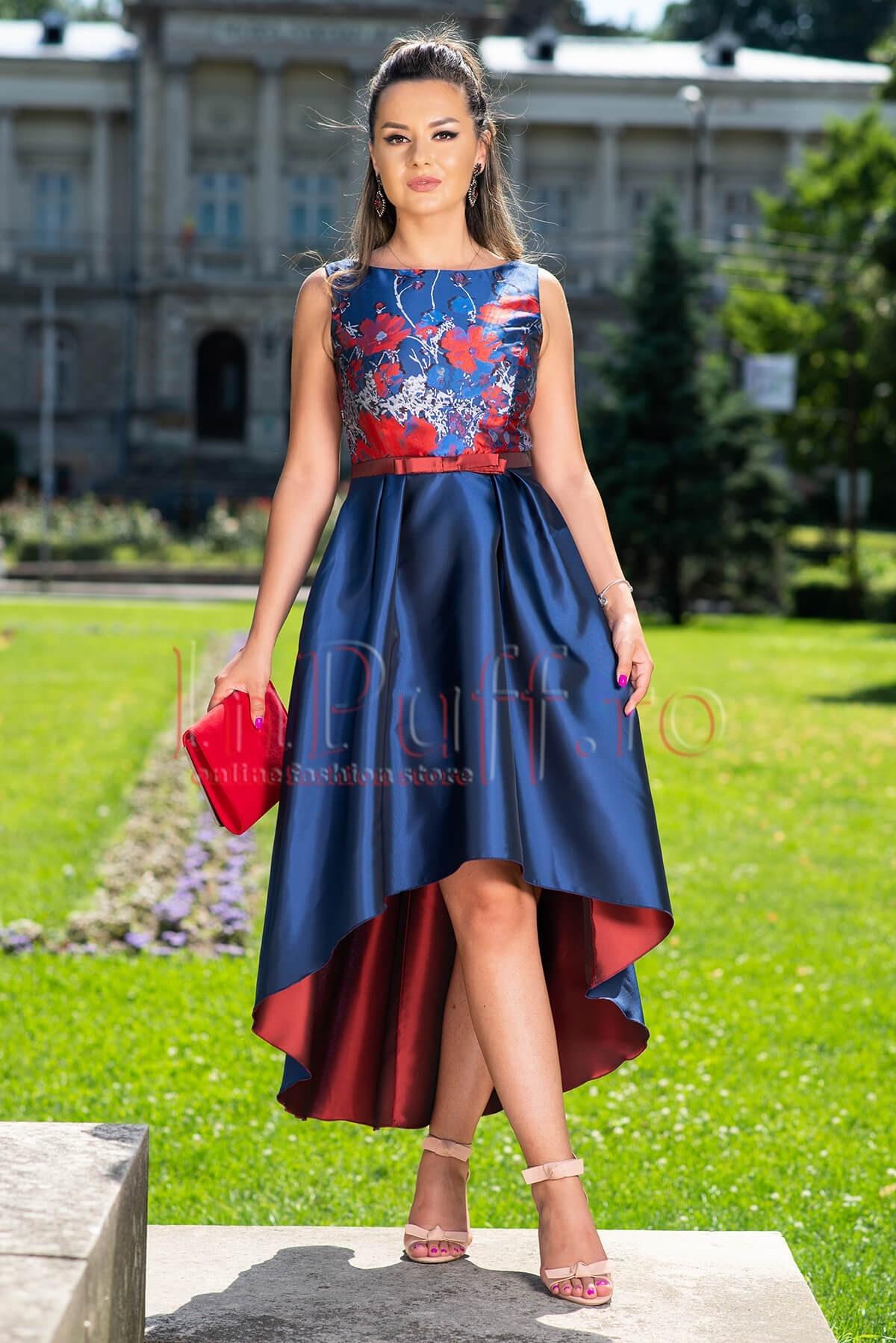 Rochie de seara MBG din tafta albastra cu imprimeu floral