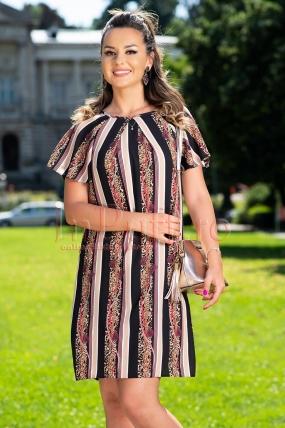 Rochie de vara din voal cu imprimeu dungi si animal print