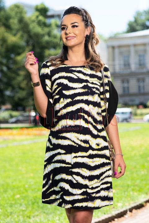 Rochie eleganta cu imprimeu deosebit si maneci despicate