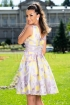 Rochie eleganta MBG baby doll in clos cu imprimeu geometric