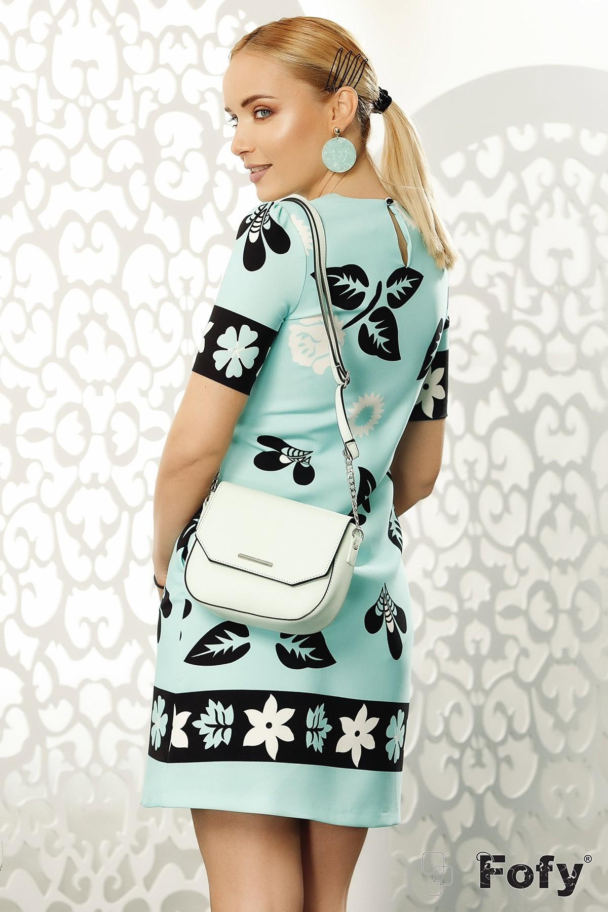 Rochie eleganta Fofy turcoaz cu imprimeu floral alb negru