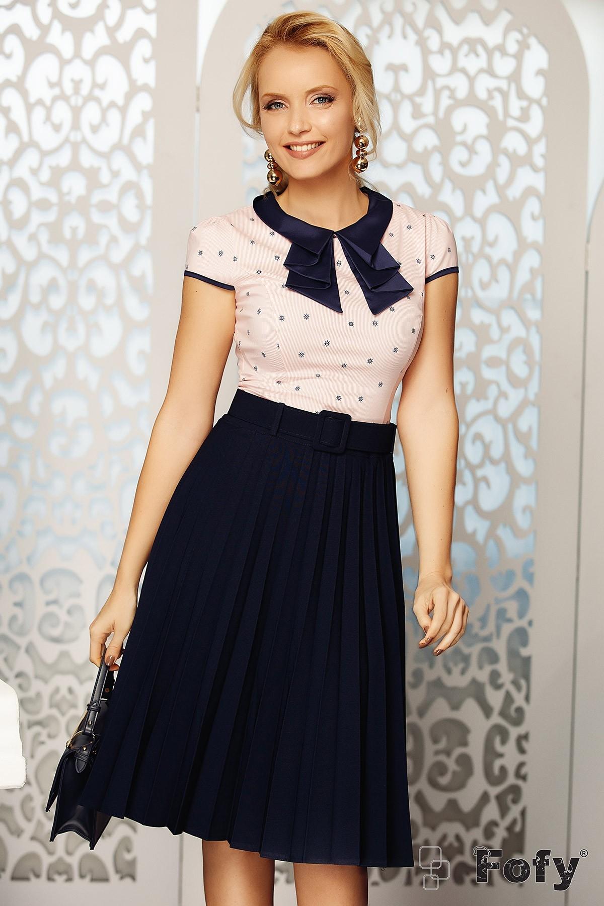 Bluza dama eleganta cu guler din satin si volanase