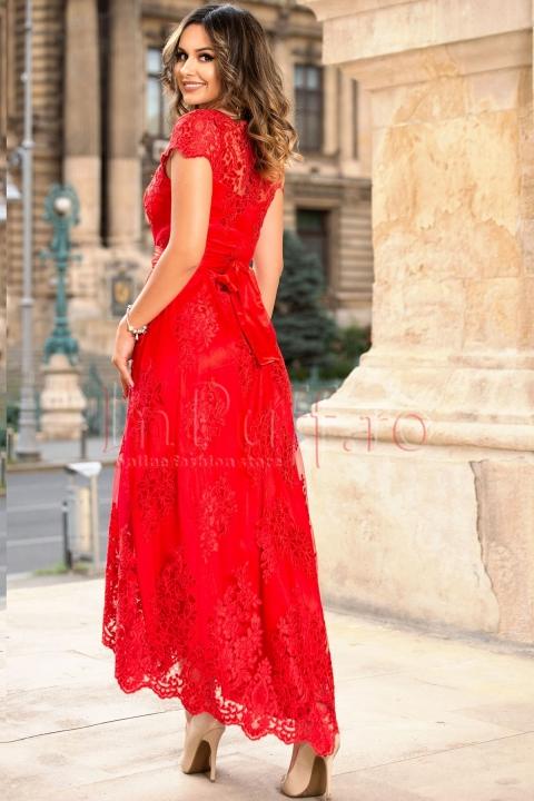 Rochie de seara rosie asimetrica din dantela