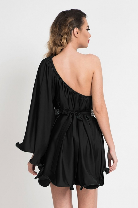 Rochie de lux neagra cu un umar gol si maneca evazata