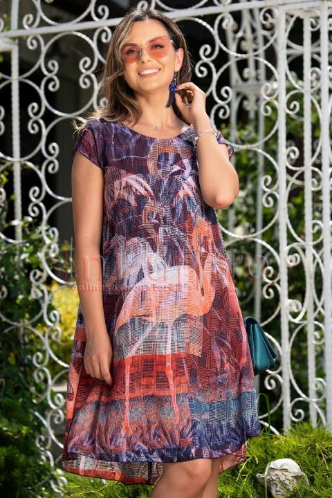 Rochie de vara din voal cu imprimeu