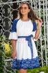Rochie de zi alba cu inserii din dantela albastra