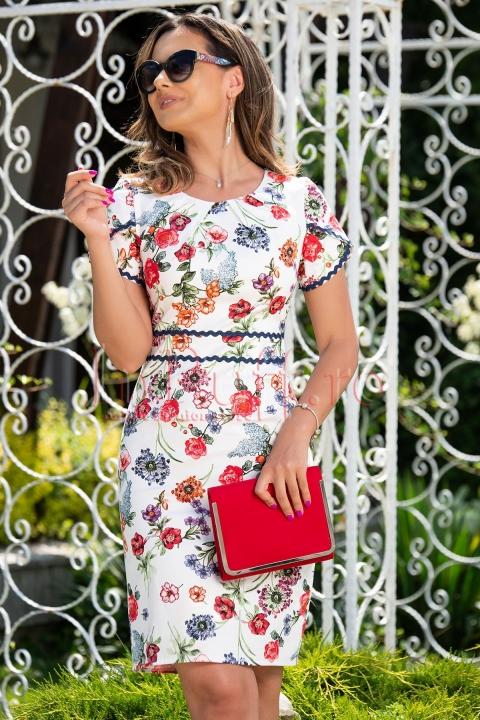 Rochie de zi alba cu imprimeu floral si insertii brodate