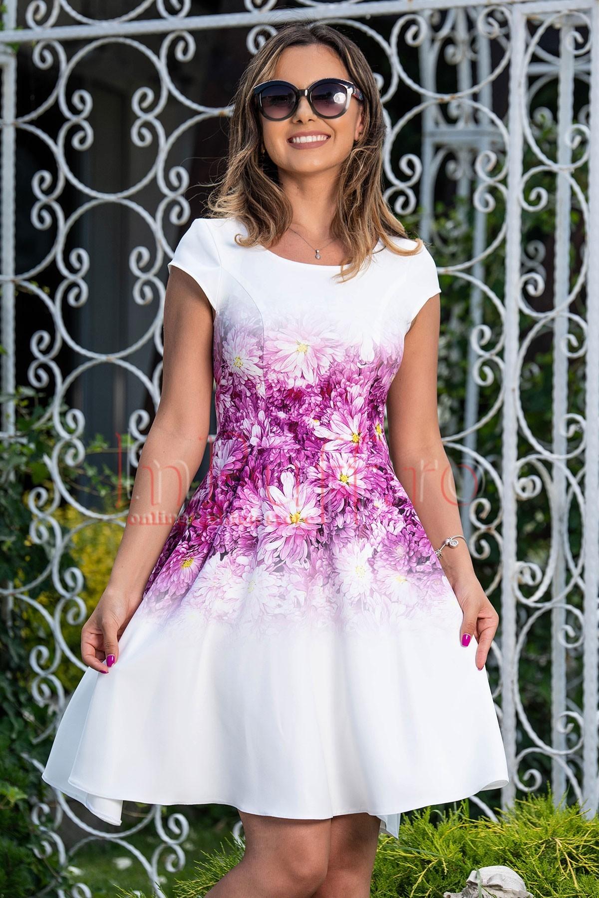 Rochie de vara alba cu imprimeu floral lila