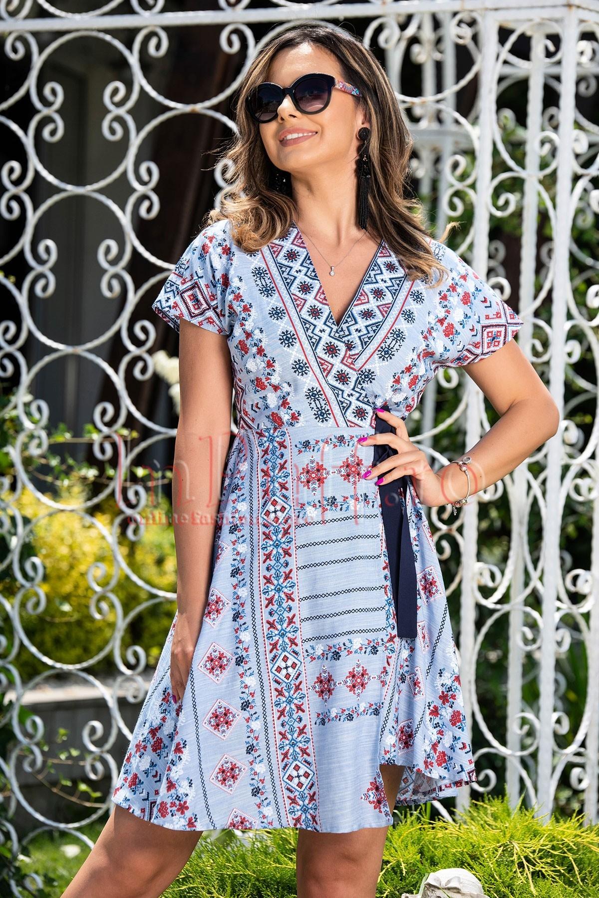 Rochie de zi Moze bleu cu imprimeu Moze