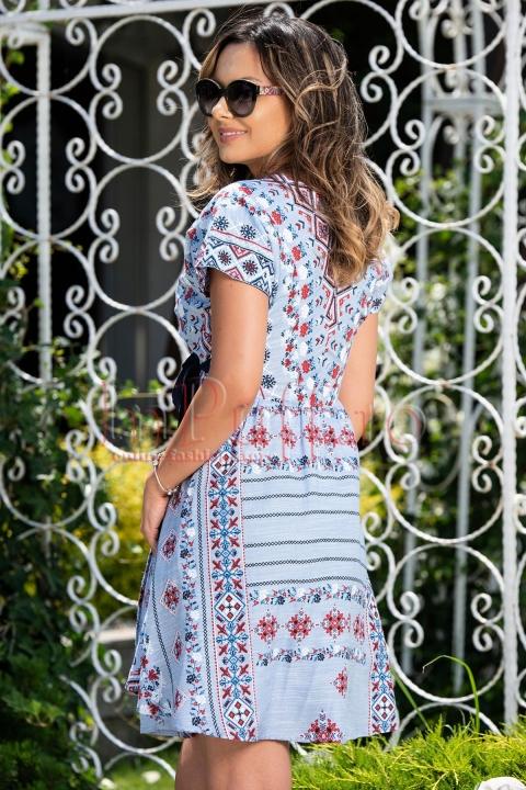 Rochie de zi Moze bleu cu imprimeu