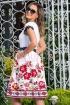 Rochie de seara alba cu imprimeu floral si broderie