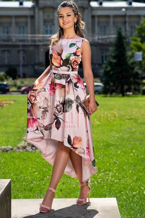 Rochie de seara asimetrica din satin cu imprimeu floral