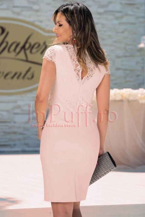 Rochie de ocazie midi rose din dantela
