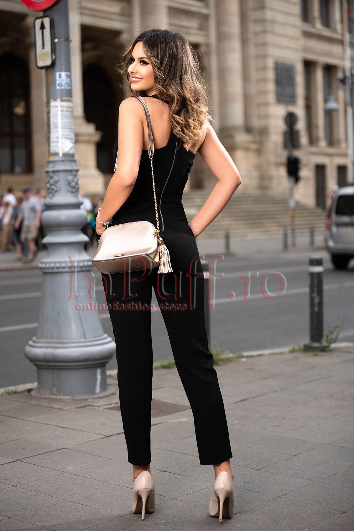 Salopeta dama neagra eleganta din jerse