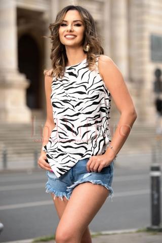 Bluza dama tip maieu cu imprimeu zebra
