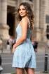 Rochie de vara bleu din vascoza cu imprimeu carouri