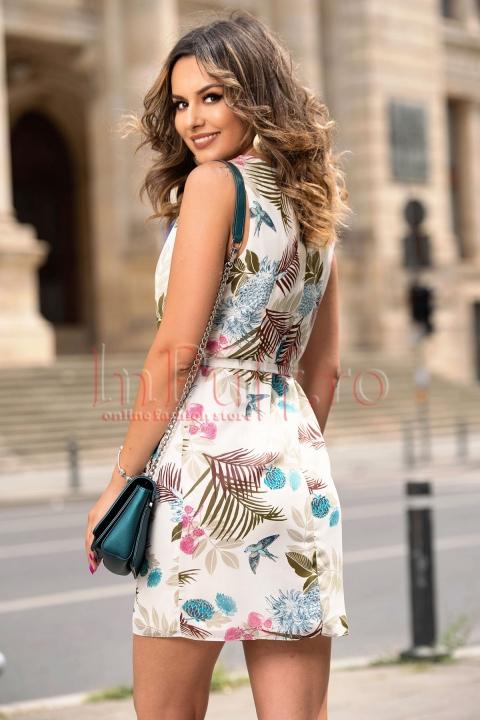 Rochie lejera de vara din voal cu imprimeu floral