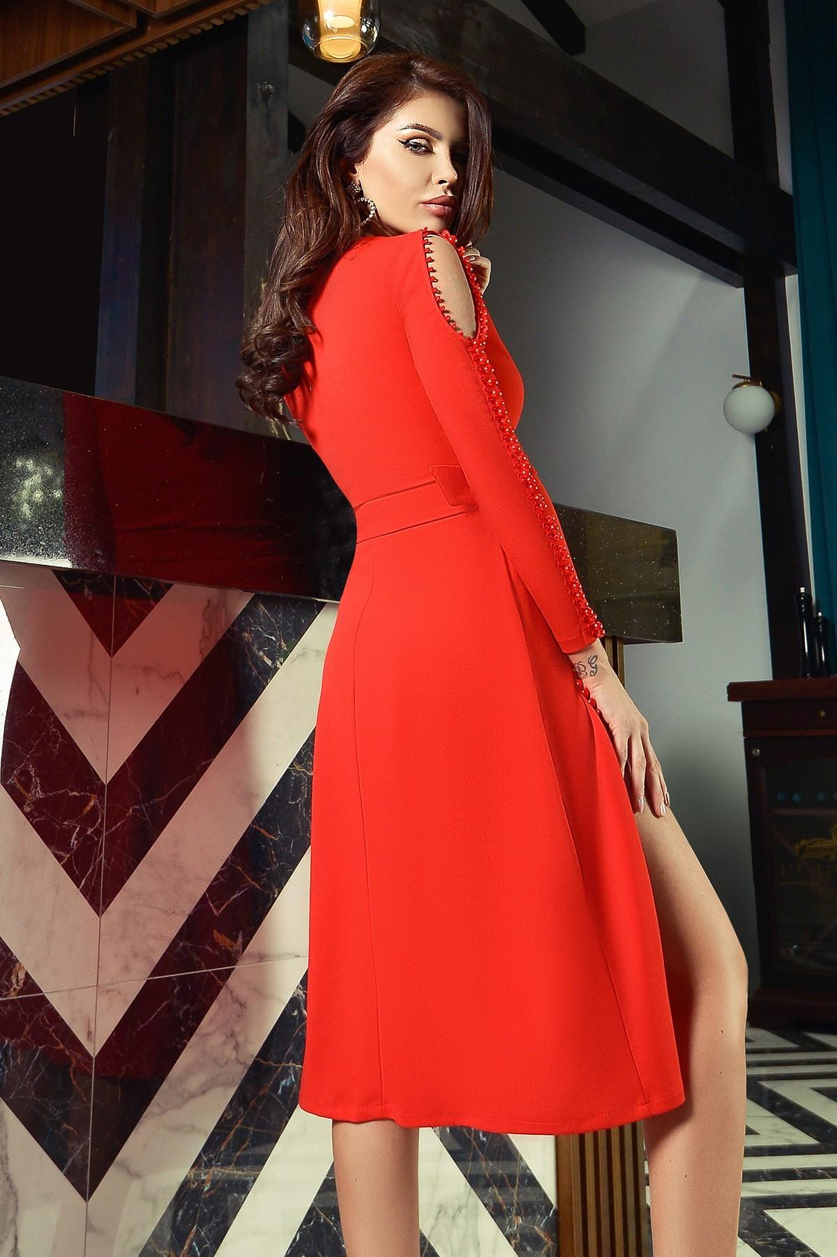 Rochie eleganta de seara Atmosphere rosie accesorizata cu nasturi tip perla