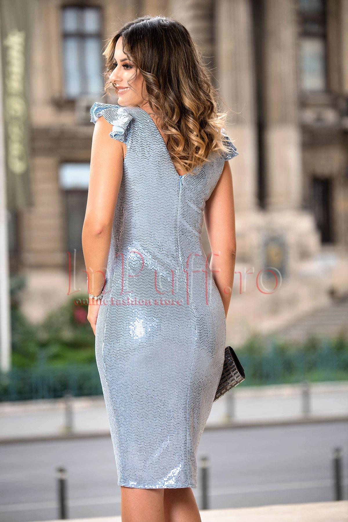 Rochie de ocazie Moze cu paiete argintii