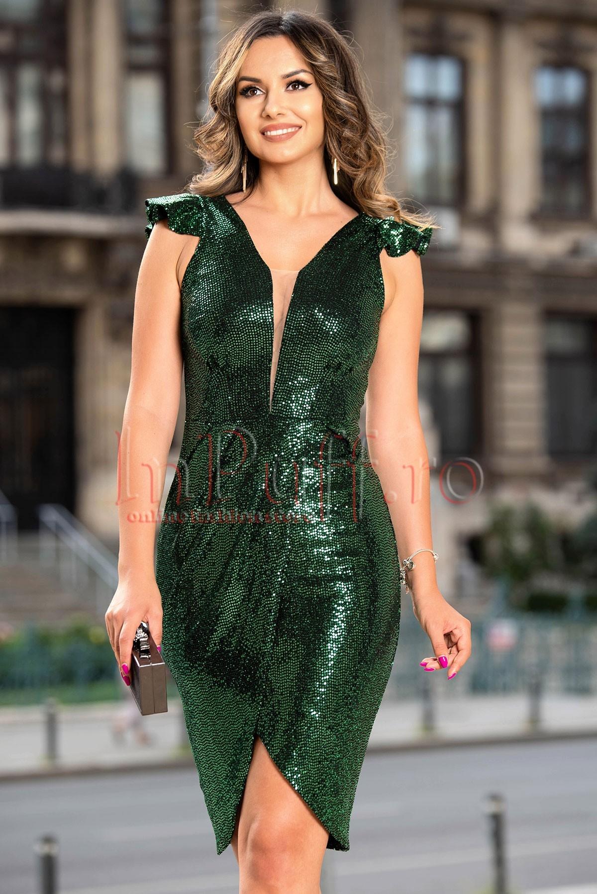 Rochie de ocazie Moze verde cu paiete argintii