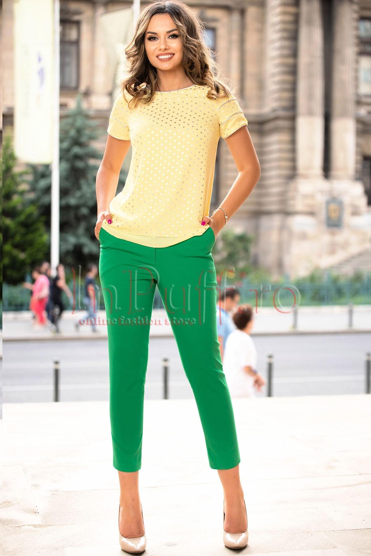 Pantaloni eleganta dama Moze verzi