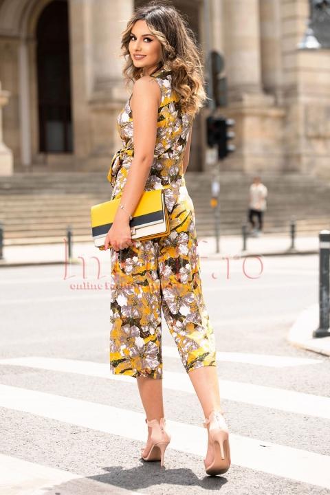 Salopeta dama eleganta cu imprimeu floral